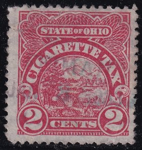 US TAX STAMP STATE OHIO 2C CIGARETTE TAX PAID STAMP tear crease
