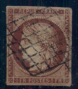 FRANCE #9, 1fr dark carmine, used, tiny thin, VF centered 4 mgns, Scott $650.00