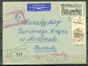 POLAND 1955 NICE REGISTERED AIR COVER TO CANADA