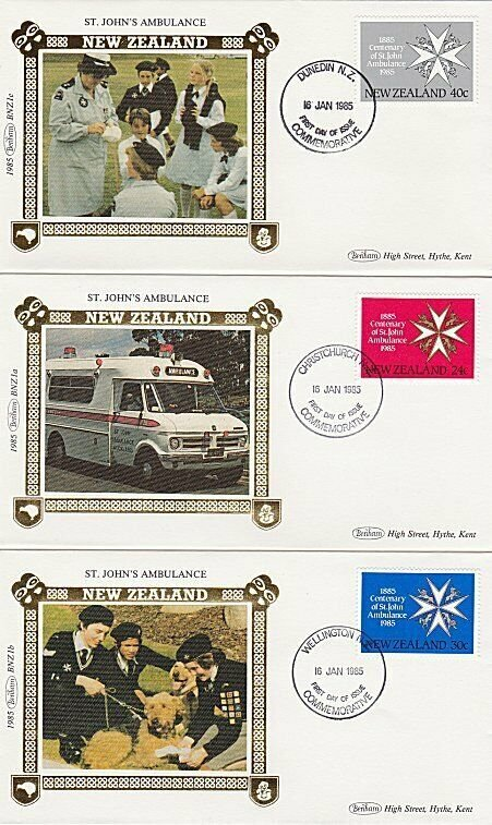 NEW ZEALAND 1985 St John Ambulance set of 3 Benham silk FDC.................Q349