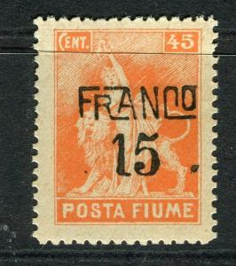 FIUME; 1919 early pictorial surcharged FRANCO 15 on 45c. value mint hinged