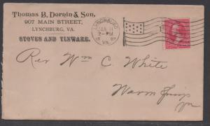 **US 19th Century Advertising Cover, Scott #265, Lynchburg, VA, 1/11/1897