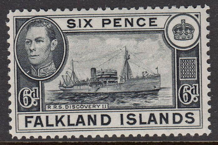 Falkland Islands KGVI 1938 6d Black SG156 Mint Lightly Hinged