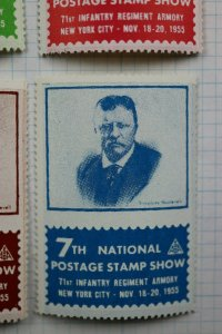 National Postage Stamp Show ASDA Teddy Roosevelt expo 1955 label set 4 ad MNH