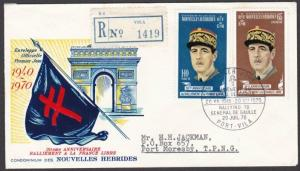 NEW HEBRIDES FRENCH 1970 de Gaulle FDC Registered to PNG...................55218