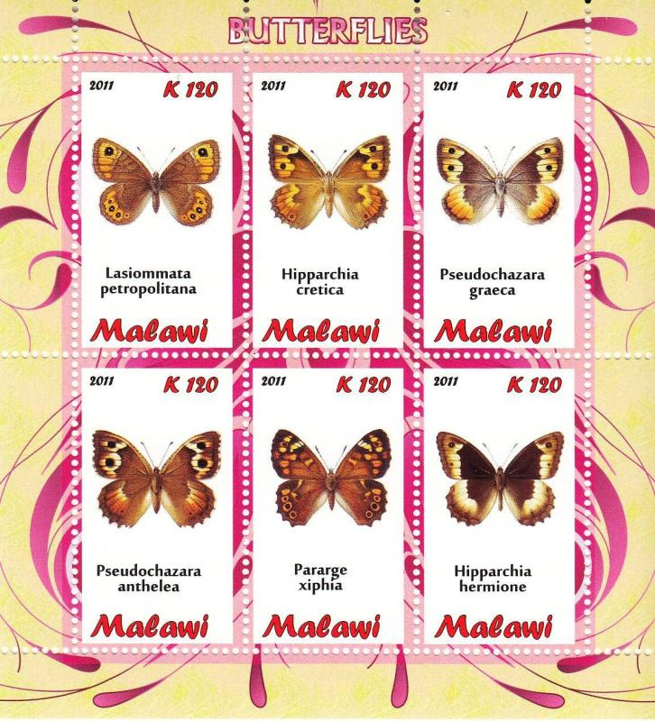 Malawi 2011 M/S Insects Butterfly Butterflies Papillon Animals Stamps MNH (2)