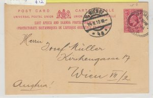 East Africa & Uganda KEVII 1910 6c Postcard To Vienna Postal History  J6080