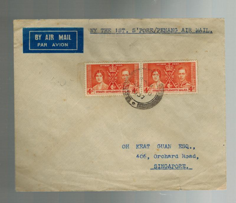 1937 Straits Settlement Singapore Airmail Cover to  Penang First FLight FFC