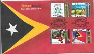 Timor-Leste #352-355  Independence  1st Day Cover CV $35.00