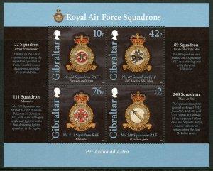 Gibraltar MNH S/S Royal Air Force Squadron Emblems 2012