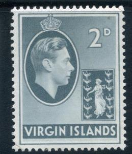 BRITISH VIRGIN ISLANDS;  1938 GVI issue fine Mint hinged 2d. SP-245644 SG 113