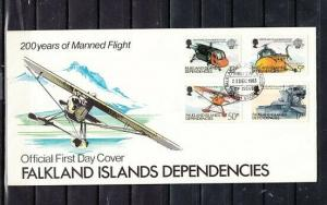 Falkland Is. Scott cat. IL 80-83. Manned Flight Bicentenary. First day cover.