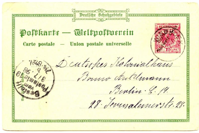 German Southwest Africa, 1898 Privat Postal Stationery PP2, Windhuk, VF used