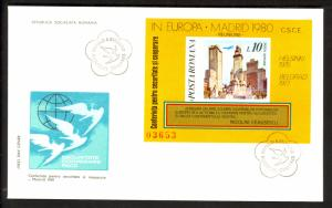 ROMANIA 1980 EUROPEAN SECURITY CONFERENCE SS Sc 2972 FOOTNOTE Cachet FDC