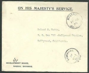 BAHAMAS 1935 OHMS cover to USA, Crown circle PAID AT BAHAMAS...............53260