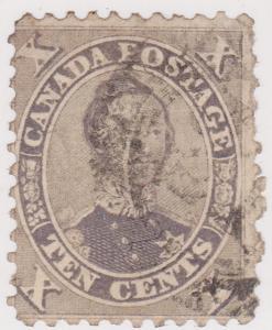 Canada 1859 10c Violet Consort Circular Cancel Fine - 2016 Scott #17a US$160.