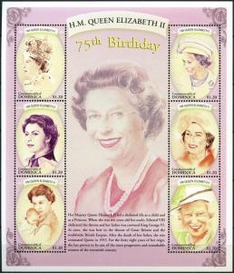 2001	Dominica	3136-41KL	75 years of Queen Elizabeth II