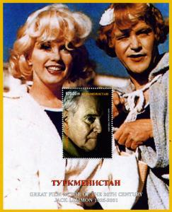 Turkmenistan 2001 Jack Lemmon & Marilyn Monroe s/s Perforated mnh.vf