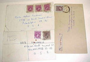 NIGERIA  CUT SQUARES on 3 SMALL COVERS TO USA INCLUDE REGISTERED 4 B/S