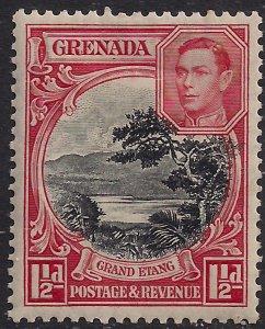 Grenada 1938 - 50 KGV1 1 1/2d Black & Scarlet MM SG 155a ( 661  )