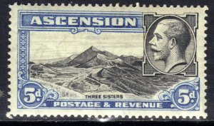 Ascension Island 1934 KGV 5d Three Sisters MM SG 26 ( R820 )