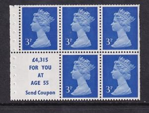 Great Britain  #MH36b  MNH  machin  booklet pane 5 x 3  1 label