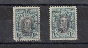 Southern Rhodesia 1931 KGV 1/- x 2 MH/VFU J9630