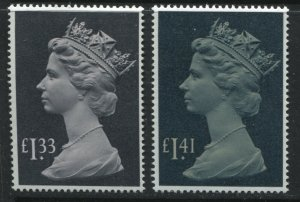 GB QEII Tall Machins £1.33 and £1.41 unmounted mint NH