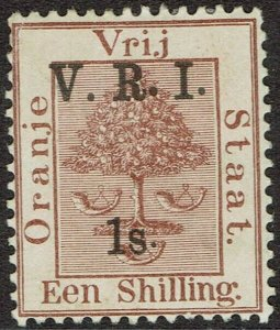 ORANGE FREE STATE 1900 VRI 1/- ON TREE 1/- MIXED RAISED AND LEVEL STOPS