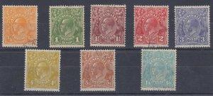 G463) Australia 1931 -36 KGV C of A wmk set of 8 to 1/4d, all CTO with gum,