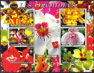 Congo 2004 Flowers Orchids Sheet of 6 MNH Cinderella !
