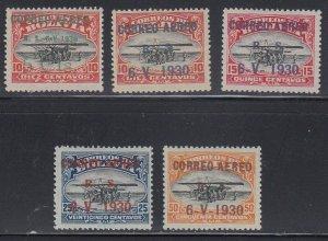 Bolivia 1930 Airpost 5c to 50c Zeppelin Overprints. VLM Mint. Scott C11 to C16