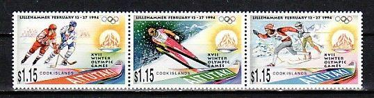Aitutaki, Scott cat. 488 A-C. Lillehammer Winter Olympics issue.