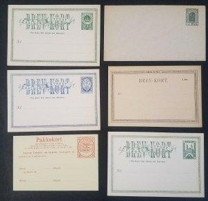 DENMARK early (1880's) Local Postal Stationery Lot of 6 diff, unused, DAKA $180