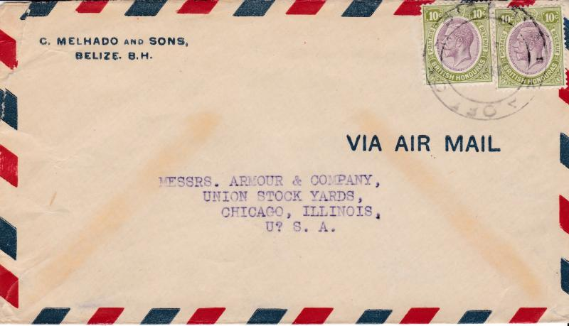Belize British Honduras 1933 Pan American Airways Office Airmail to Chicago,IL.