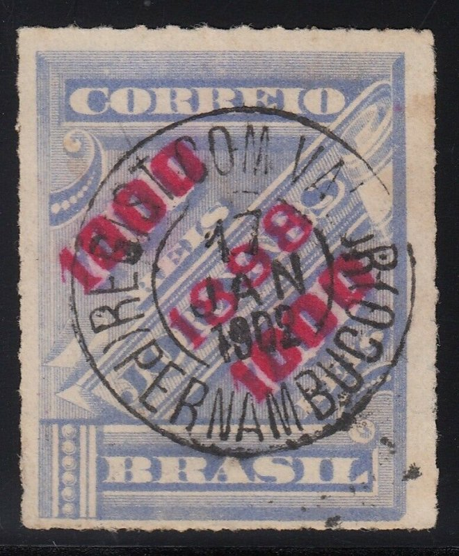 Brazil 1898 1000r on 700r Red Surcharge with SON Pernambuco Cancel. Scott 135