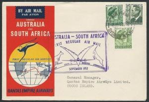 COCOS IS R.A.A.F.P.O. cds on reverse Qantas 1952 flight cover..............46315