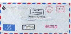 Thailand 1980 1st Bangkok City Bank Regd Airmail Meter Mail Stamp Cover Rf 29970