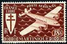 Martinique 1945 Fairey FC-1 the unissued 18f in brown unm...