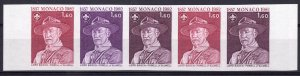 Monaco 1982 Sc#1341 SCOUTING YEAR LORD BADEN-POWELL Strip of 5 TRIAL COLOR MNH