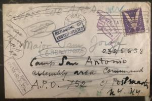1945 New York Usa Returned Mail Cover To Camp San Antonio WW2 APO