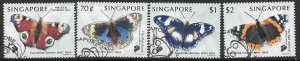 SINGAPORE SG999/1002 1999 BUTTERFLIES FINE USED