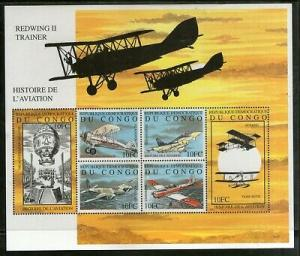Congo Zaire 2001 History of Aviation Aeroplane Transport Sc 1584 M/s MNH # 9193