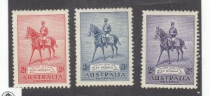 AUSTRALIA PP11 # 152-154 VF-MNH 1935  KGV ON HIS CHARGER ANZAC CAT VALUE $85