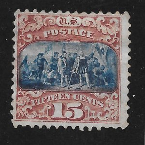 119 Used, 15c. Pictorial, Blue Cancel, V-Light, scv: $190, FREE INSURED SHIPPING