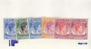 MALAYA SINGAPORE #s 11A-16A AND 18A VF-MNG KGV1 ISSUES