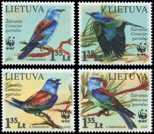 Lithuania 2008 Sc 874-877 WWF Birds CV $4.50