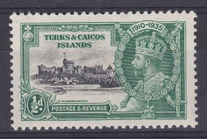 DB393) Turks & Caicos Islands 1935 Jubilee halfpenny black & green SG 187