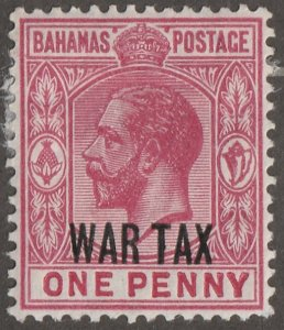 Bahamas stamp, Scott#MR-7,  mint, hinged,  one penny, rose/red,  WAR TAX, #MR-7