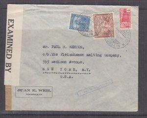 COLOMBIA, 1943 Censored cover, Medellin to USA, 1/2c., 5c. & 30c.
